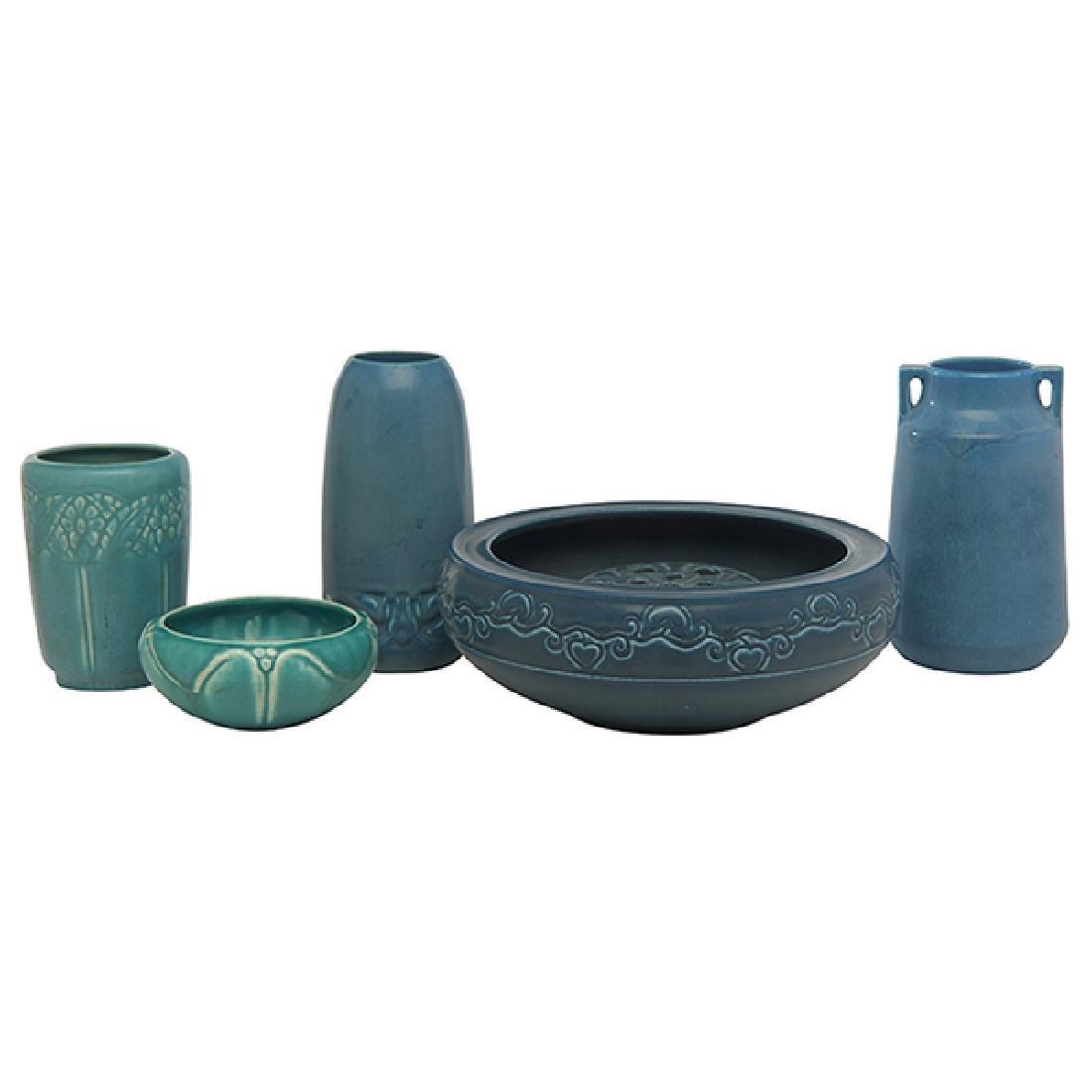 Rookwood Pottery vases, three, #1890, #2076, #6701,