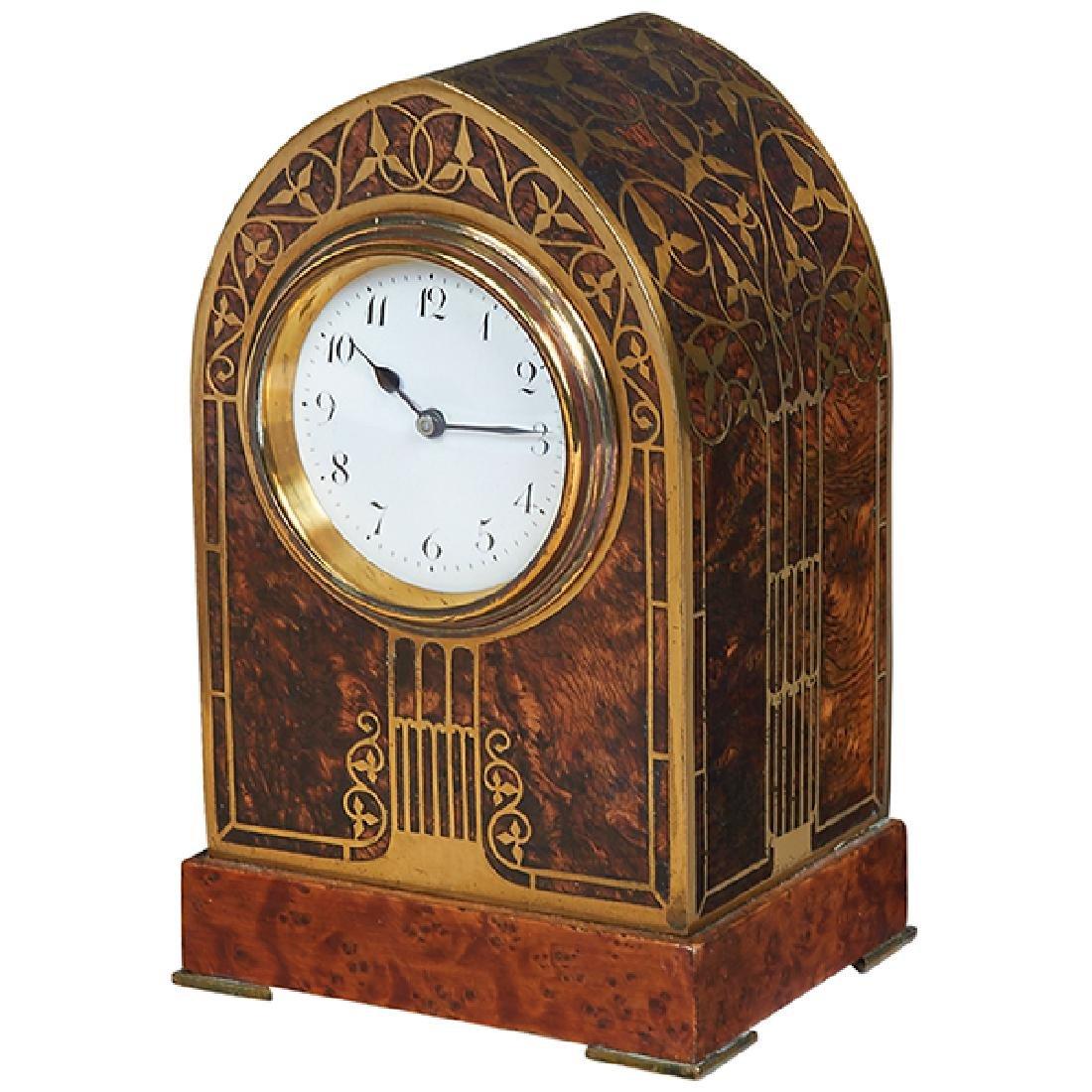 """Erhard & Sohne Jugendstil inlaid desk clock 3.5""""d x"""