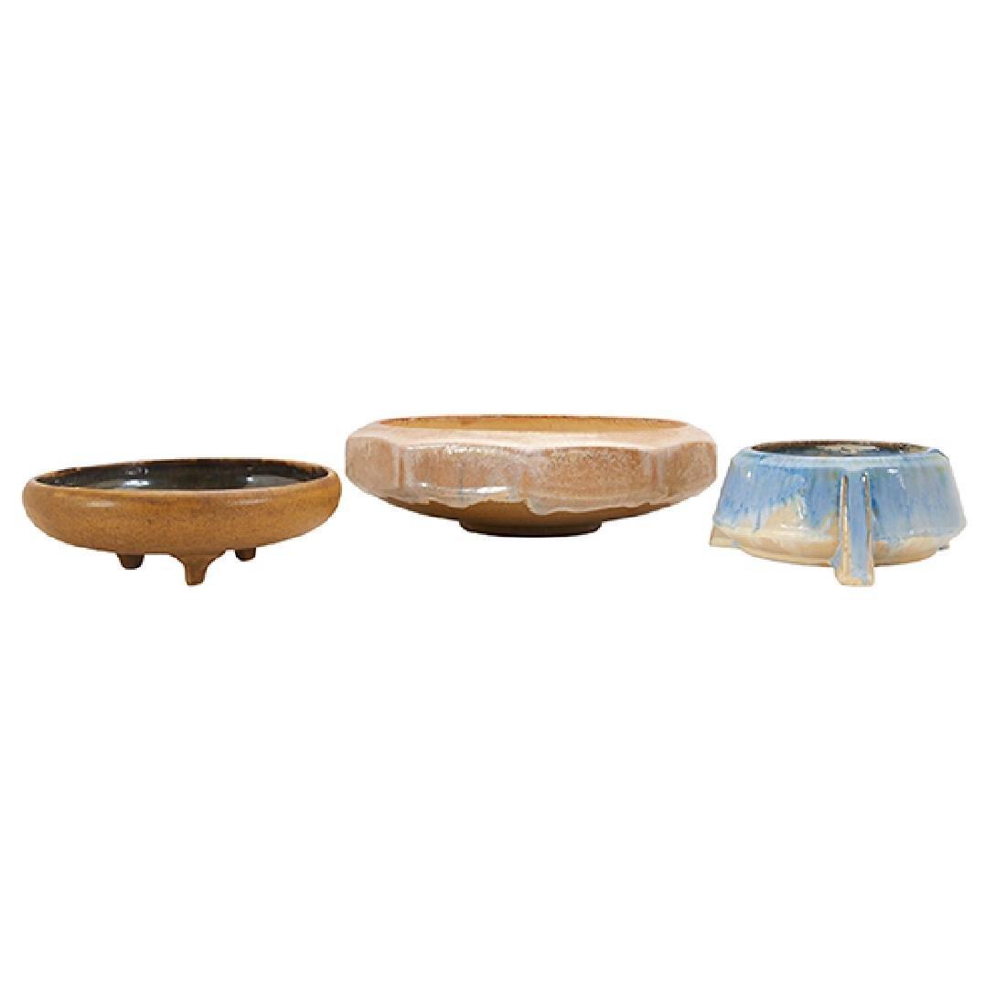"""Fulper Pottery Co. bowls, three  largest: 9.5""""dia x"""