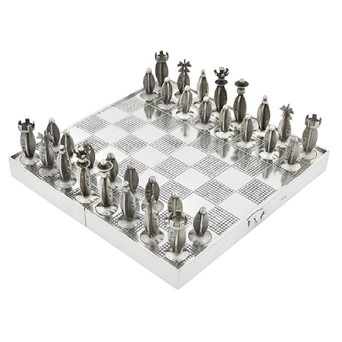 "ORNO traveling chess set closed: 6 1/4""w x 3 1/8""d x 1"