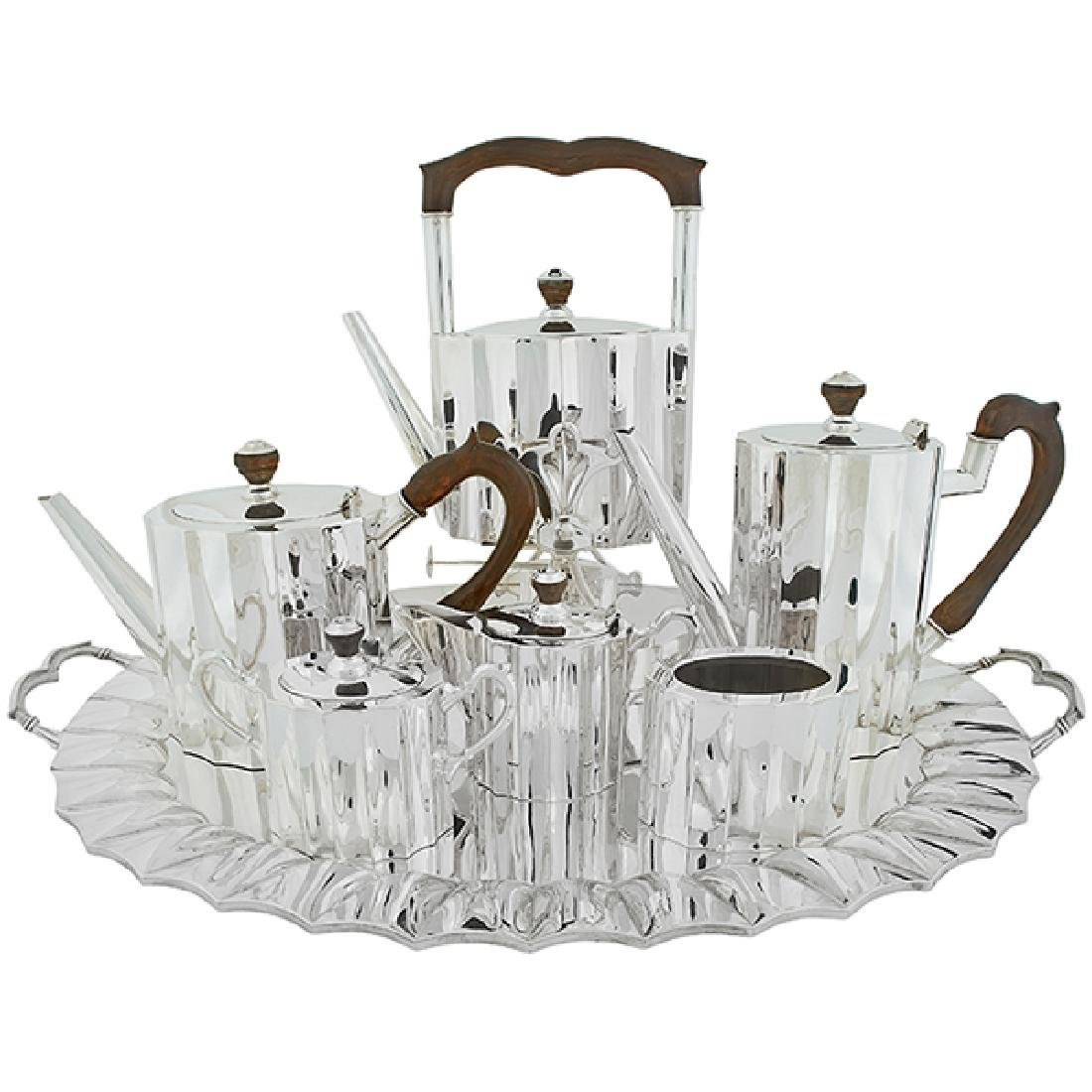 Art Deco extensive tea and coffee service kettle on