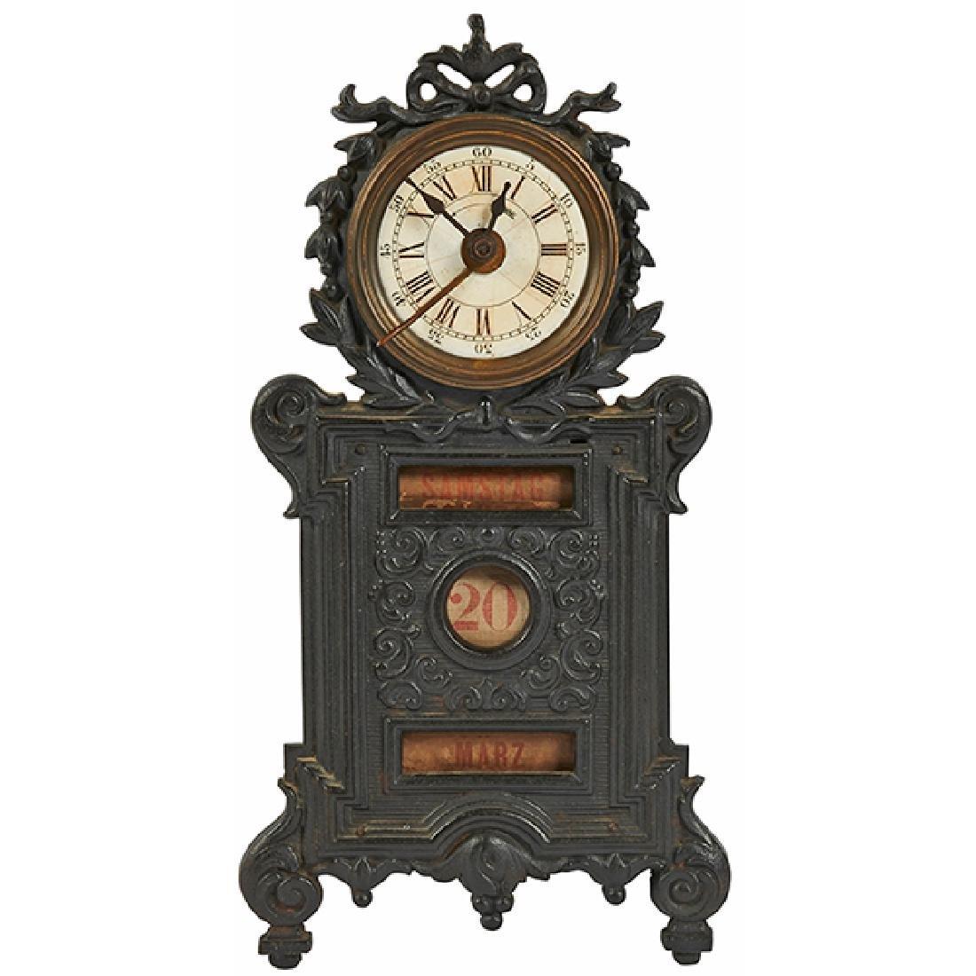 """Antique German desk clock with date apertures 5""""w x 3""""d"""