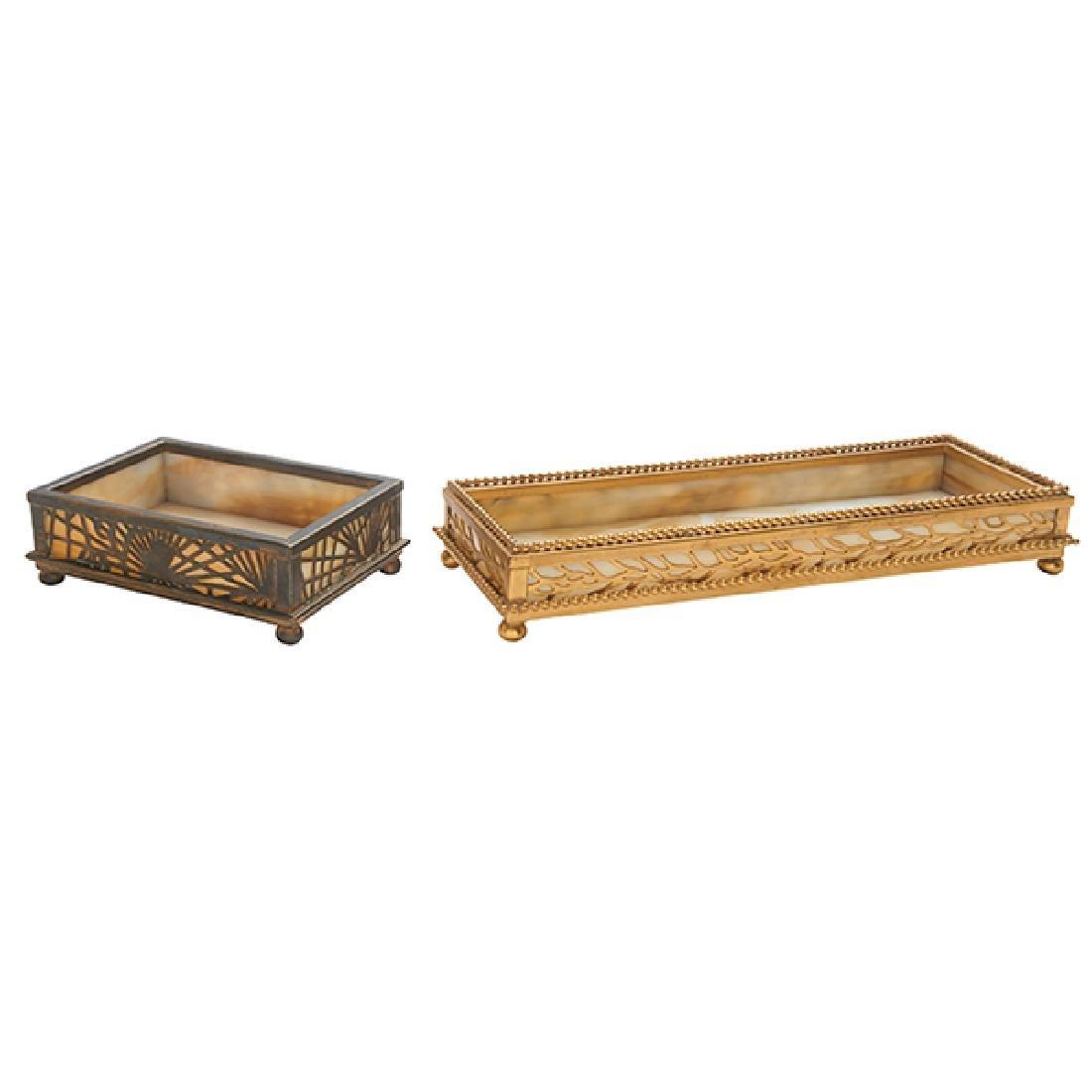 Tiffany Studios Pine Needle desk trays, two, #800 and