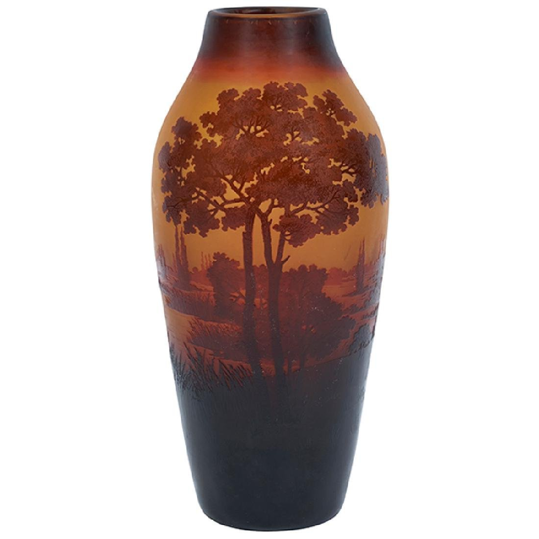 "D'Argental Landscape vase 4.5""dia x 9.5""h"
