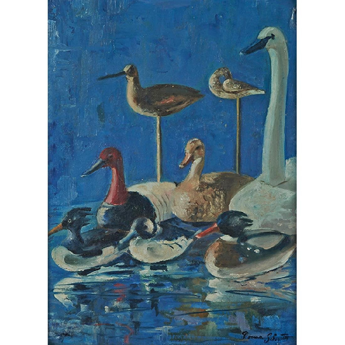 Donna Schuster, (American, 1883-1953), Water Fowl, oil