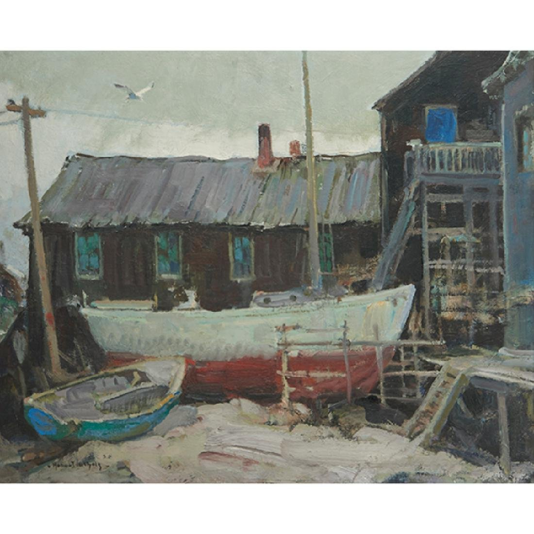 Hobart Nichols Jr., (American, 1869-1962), Boatyard,
