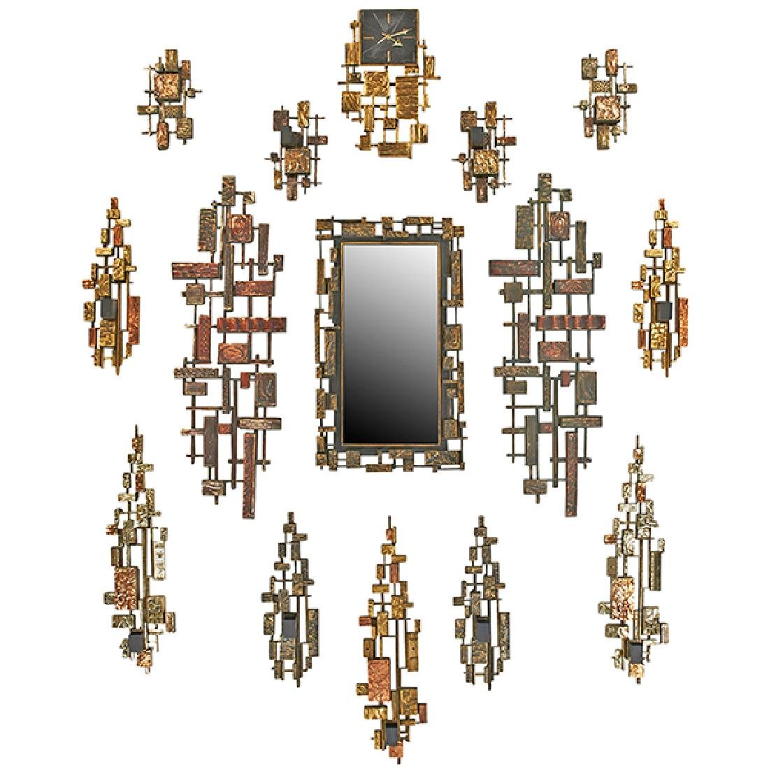 Syroco Brutalist wall sculptures, set of 15 mirror:
