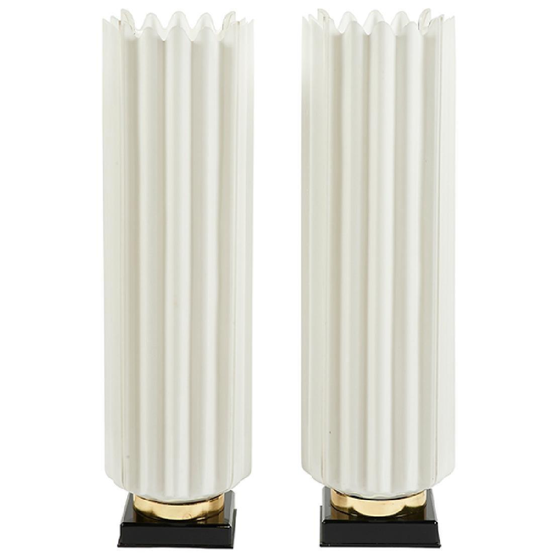 "Rougier table lamps, pair 9.5""dia. x 30.5""h"