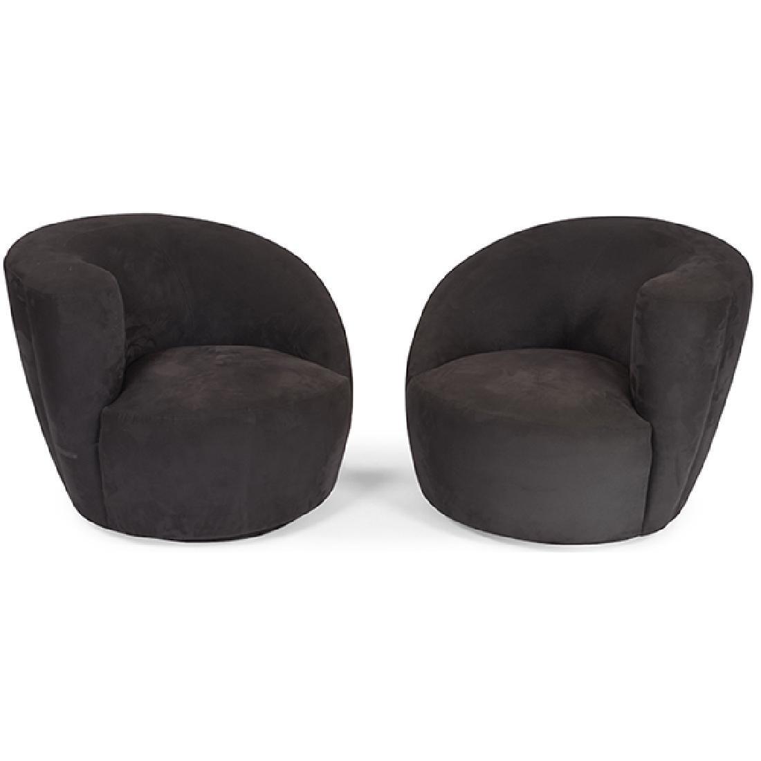 Vladimir Kagan (1927-2016) swiveling lounge chairs,