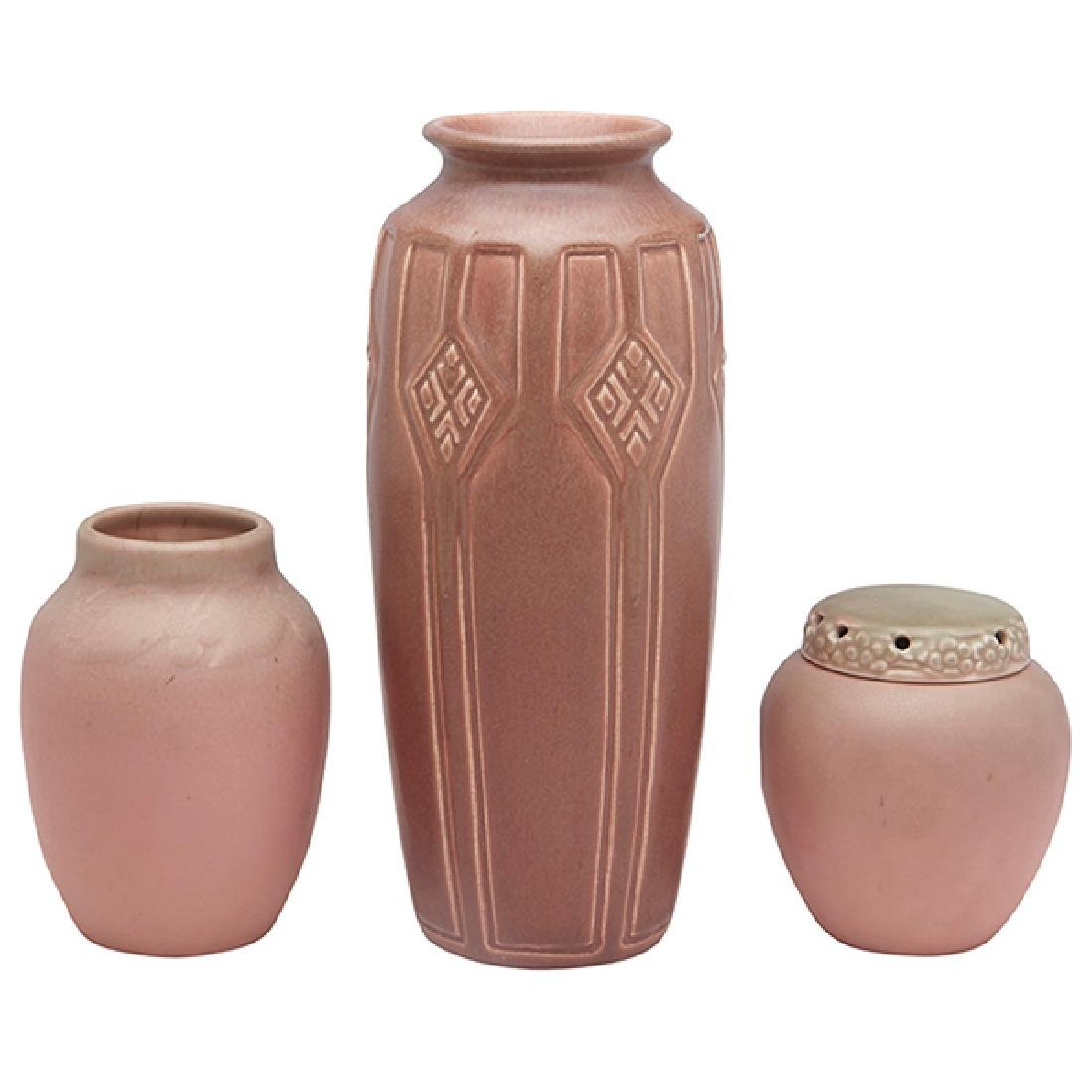 Rookwood Pottery, two vases and one potpourri jar,