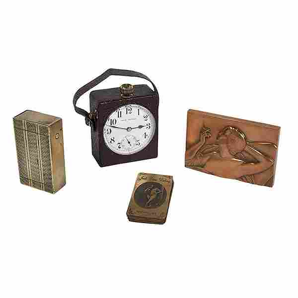 Erotic Group Lot, four (4) articles:, travel clock with