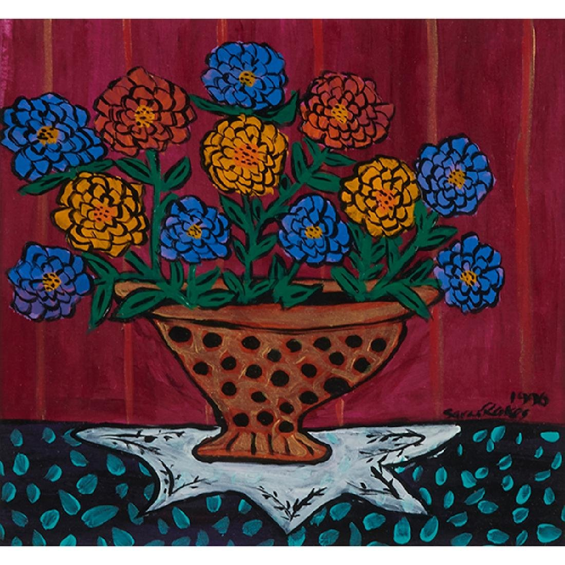 Sara Rakes, Mixed Zinnias in a Fancy Pot, 1996, mixed