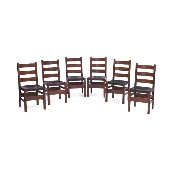 5: Gustav Stickley chairs, #306 1/2, set of six