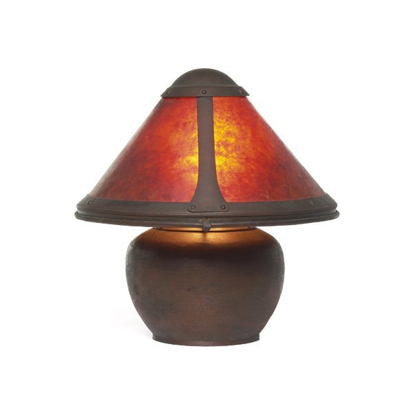 15: Dirk Van Erp lamp, hammered copper