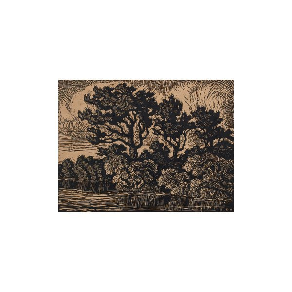"17: Birger Sandzen, ""Pasture with Willows"", woodblock"