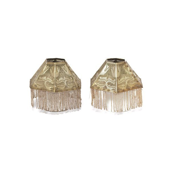 21: Newcomb College lamp shades, attribution, pair