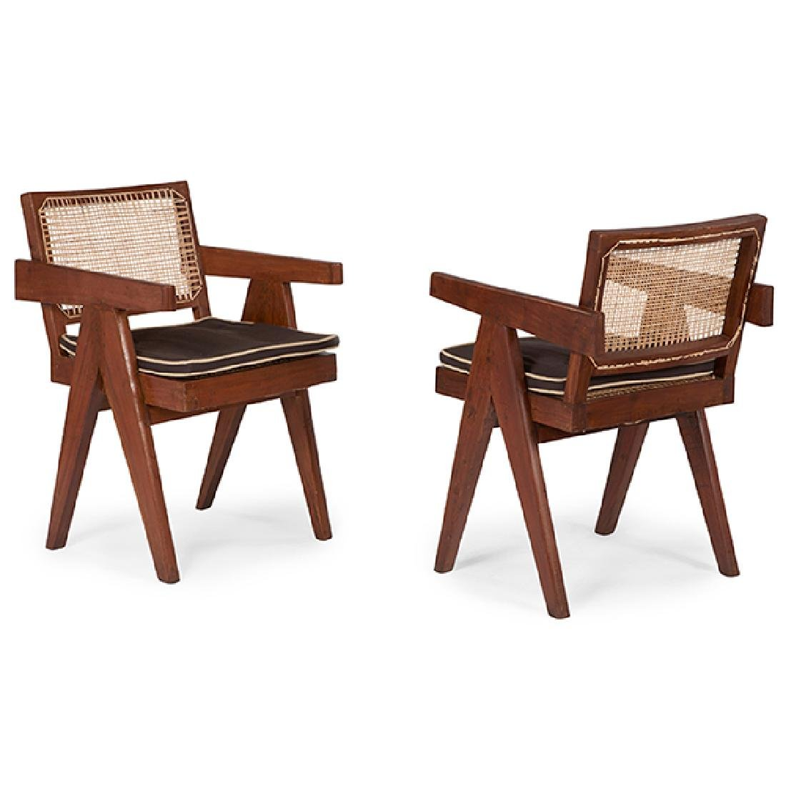 Pierre Jeanneret (1896-1967) Office Cane Chair, pair,