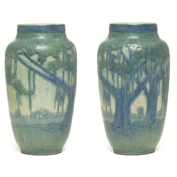 1: Newcomb College vase, carved and painted landscape