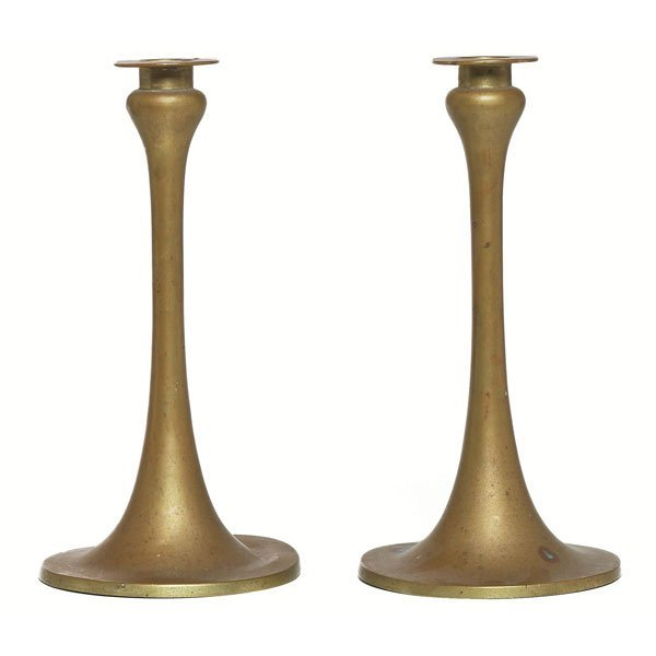 5: Arts & Crafts candlesticks, pair, brass
