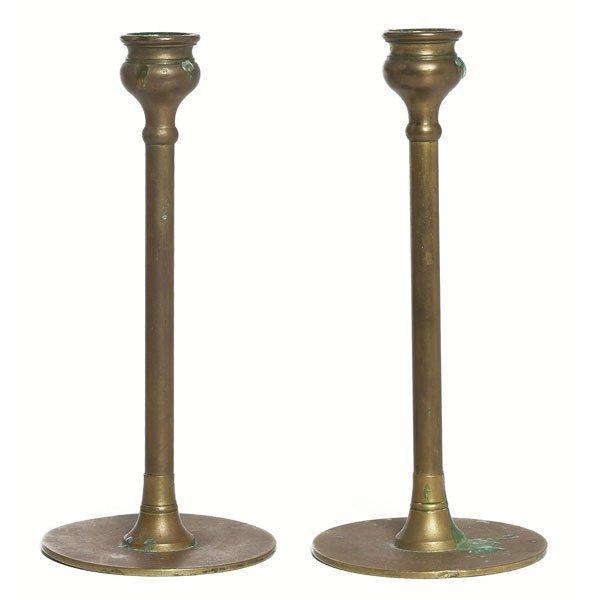 7: Arts & Crafts candlesticks, pair, brass