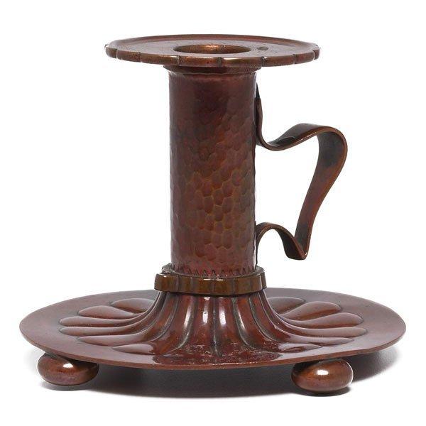 8: Gorham chamberstick, hammered copper