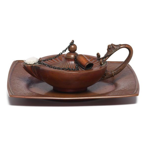 11: Gorham oil lamp and tray, hammered copper