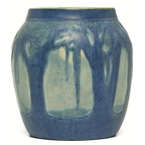 14: Newcomb College vase, carved and painted landscape