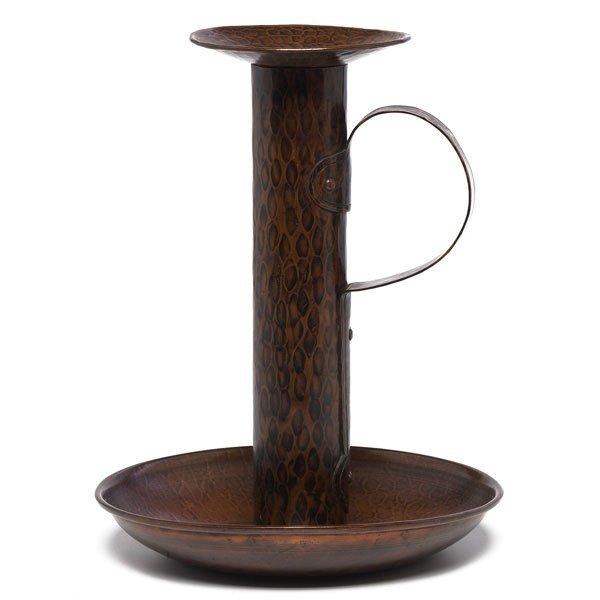 15: Gustav Stickley chamberstick, hammered copper