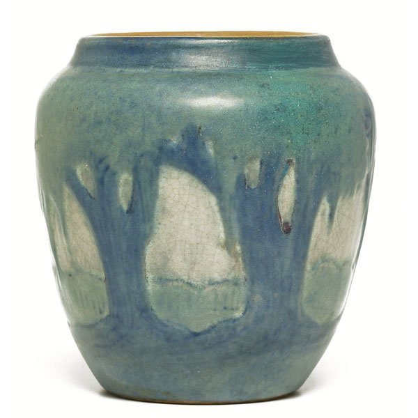 16: Newcomb College vase, carved and painted landscape