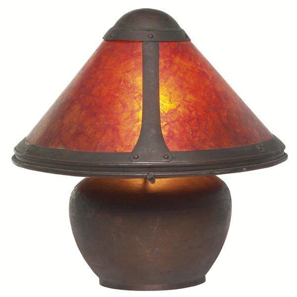 17: Dirk Van Erp lamp, hammered copper