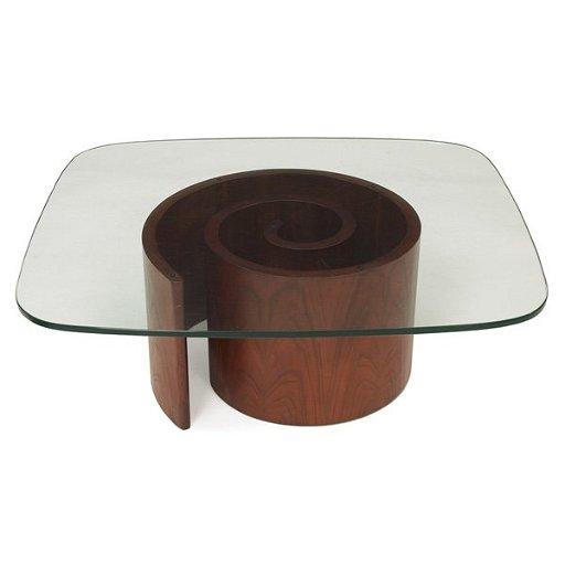 Kagan Coffee Table.1021 Vladimir Kagan Snail Coffee Table Spiral Base Of