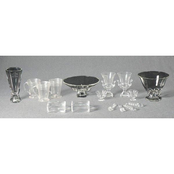 1201: Steuben vase, clear lot of three