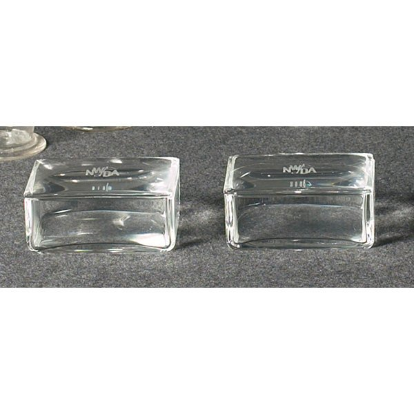 1203: Steuben boxes, pair, clear with etched monograms