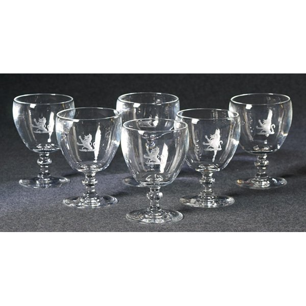 1206: Steuben glasses, set of six, clear goblet shape