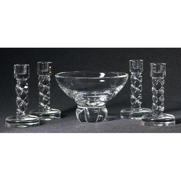 1207: Steuben candlesticks, four, clear w/ Steuben bowl