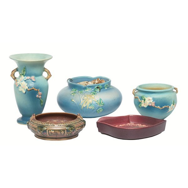 1208: Roseville items, lot of five