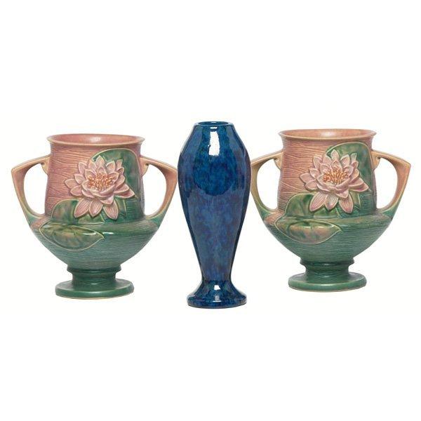 1215: Roseville Water Lily vases, pair,w/ Zaneware vase