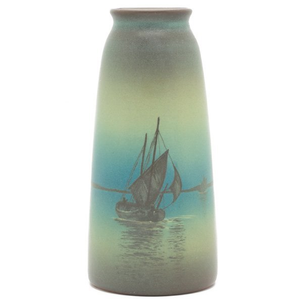 1862: Rookwood vase, Green Vellum glaze, Sallie Coyne