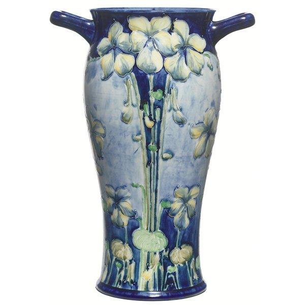 2306: Moorcroft vase, Florian Ware, handled form
