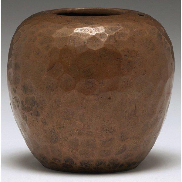 10: Armen Haireian vase, bulbous form in hammered bronz