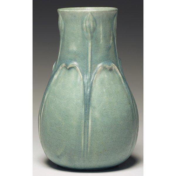 11: Grueby vase, rare light blue suspended matt glaze