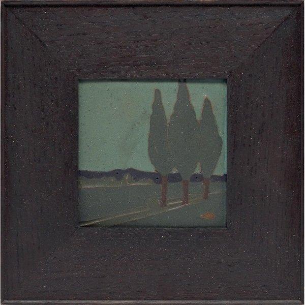 12: Van Briggle tile, incised and painted landscape