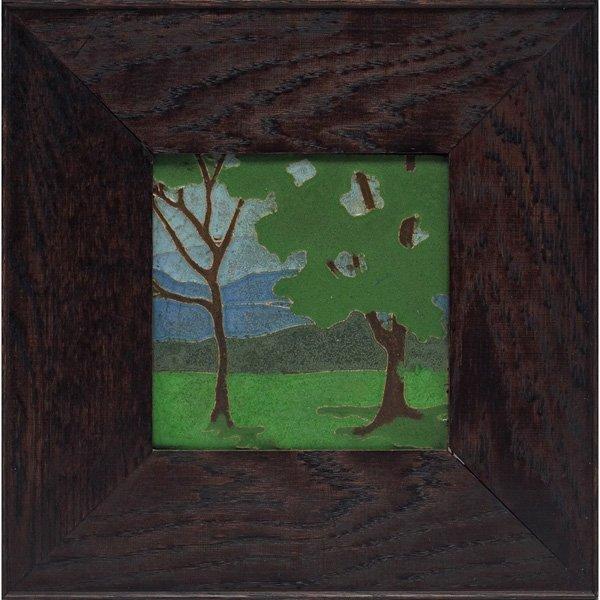 14: Van Briggle tile, incised and painted landscape