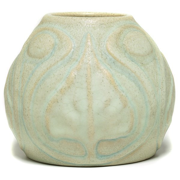 16: Van Briggle vase, ca. 1904, raised organic design