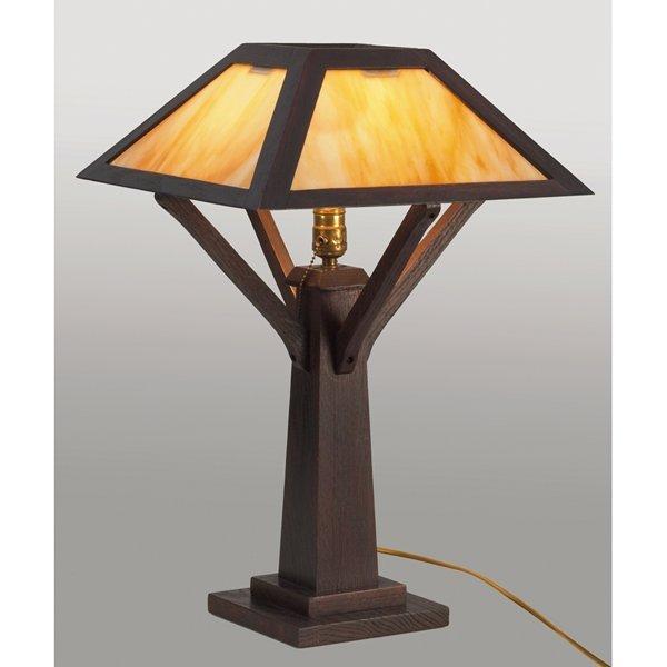 21: Arts & Crafts table lamp, pyramidal shade with cara