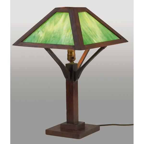 23: Arts & Crafts table lamp, pyramidal shade
