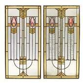 475 Arts  Crafts windows pair Prairie School