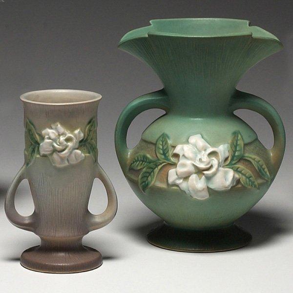 1202: Roseville Gardenia vases, pair