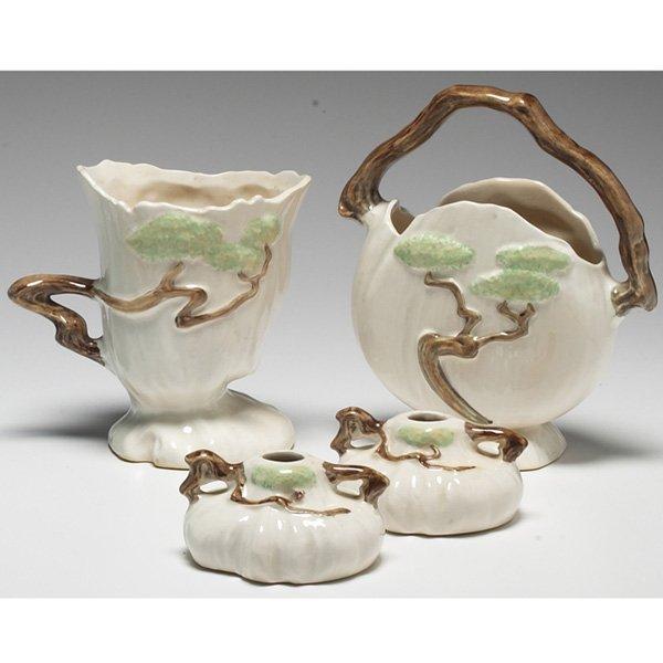 1205: Roseville Ming Tree vases, w/ Roseville Ming Tree