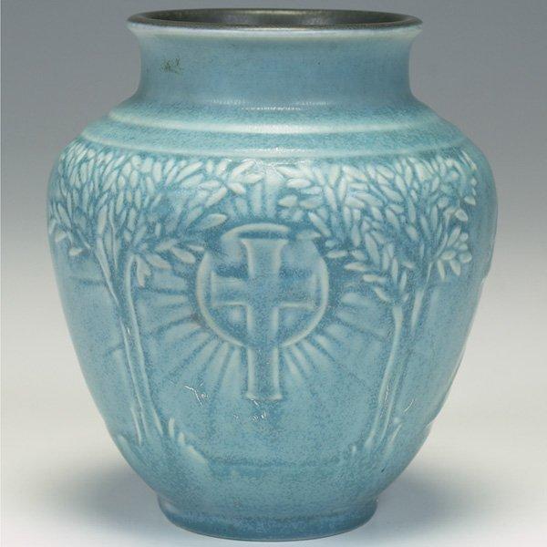 1212: Rookwood vase, blue matt glaze, 1934